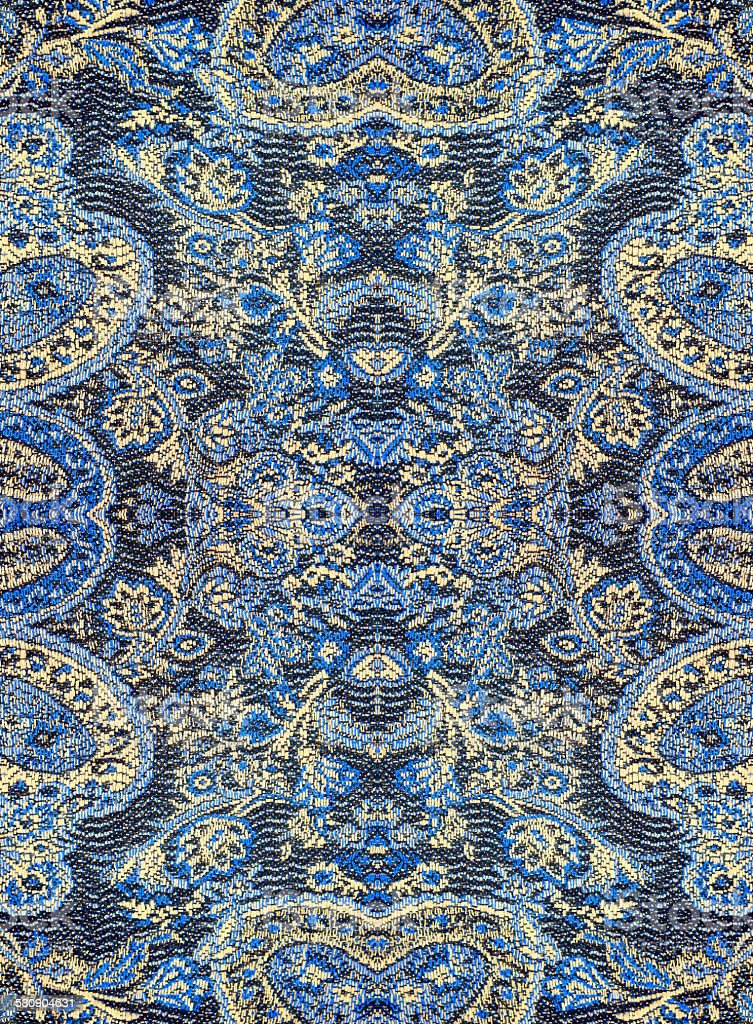 Floral pattern on the fabric, repeating fragments stock photo