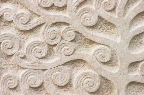 Floral pattern stone slab as background stock photo
