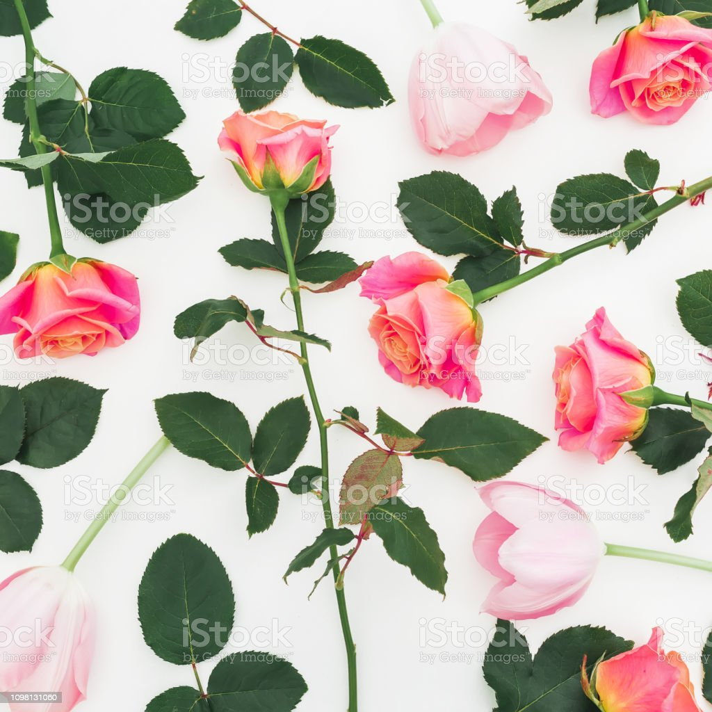 Floral pattern with roses flowers and green leaves on white...