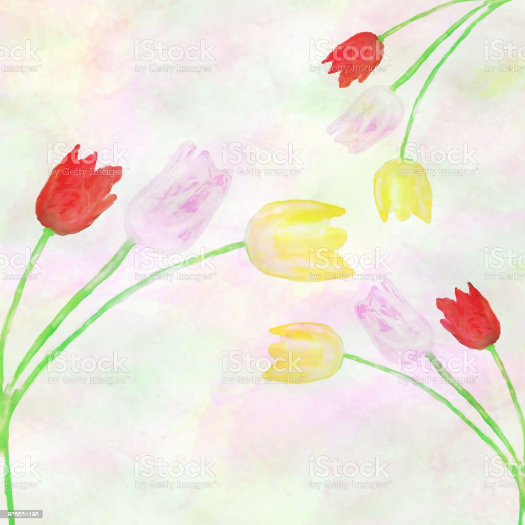floral pattern with watercolor illustration of red, yellow and purpple tulips stock photo