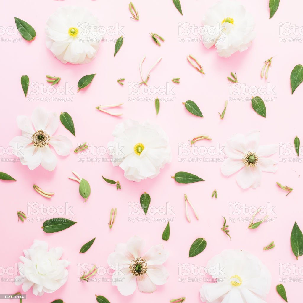 Floral Pattern With White Spring Flowers And Leaves On Pink