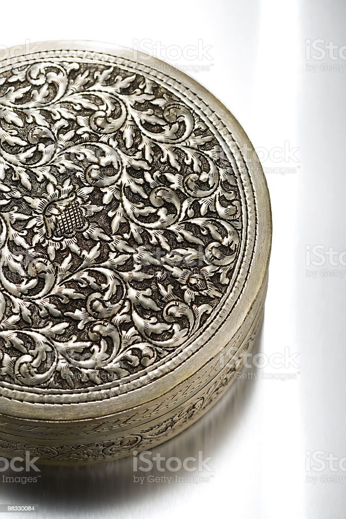 Floral patterned antique metal case royalty-free stock photo