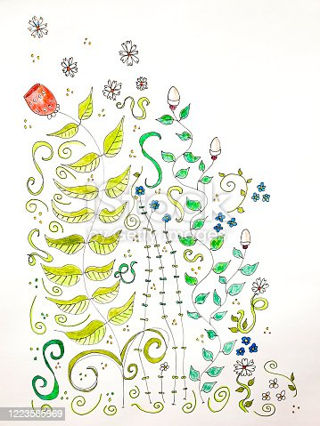 A hand drawn flower drawing with pen and ink and color pencils, creative nature background, line art flowers.