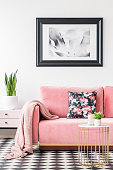 Floral pillows and blanket on pink couch in living room interior with poster and plant. Real photo