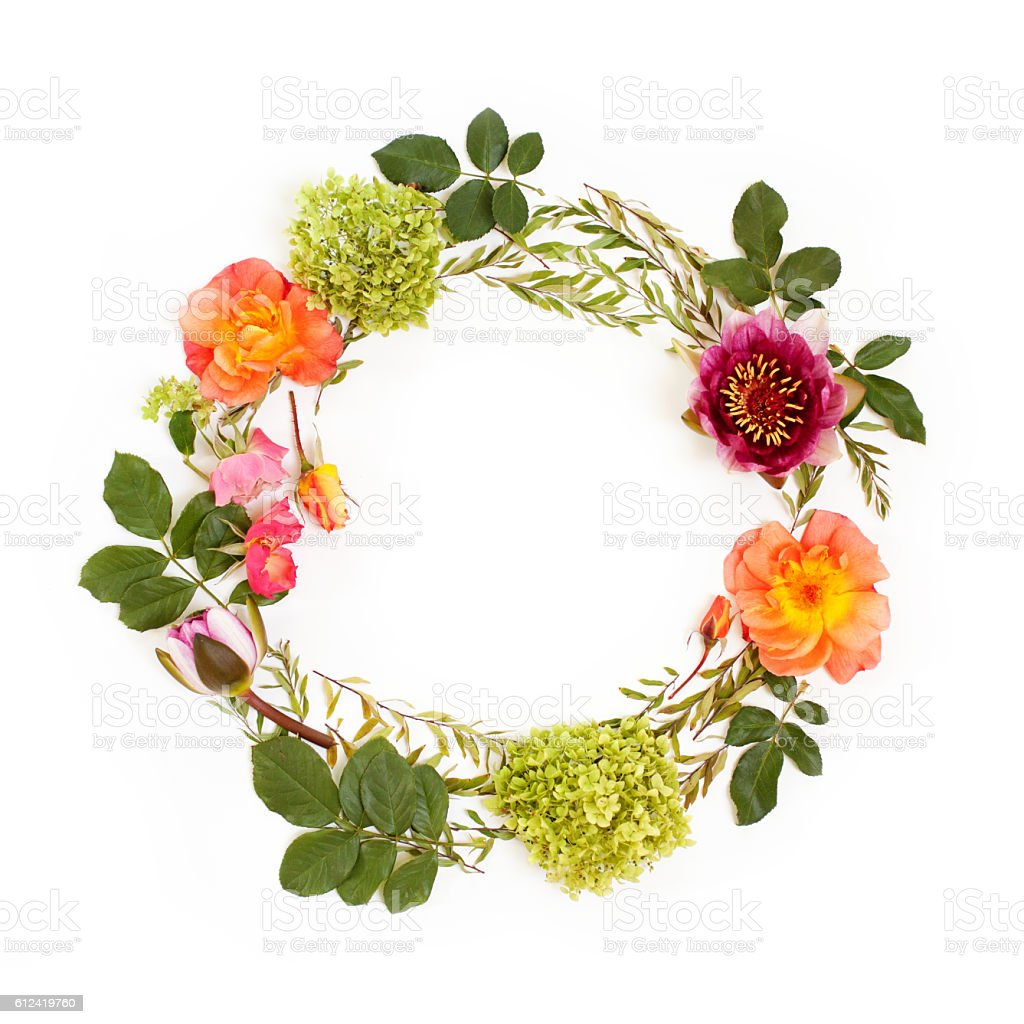 Floral round crown with flowers and leaves stock photo more floral round crown wreath with flowers and leaves royalty free stock photo izmirmasajfo