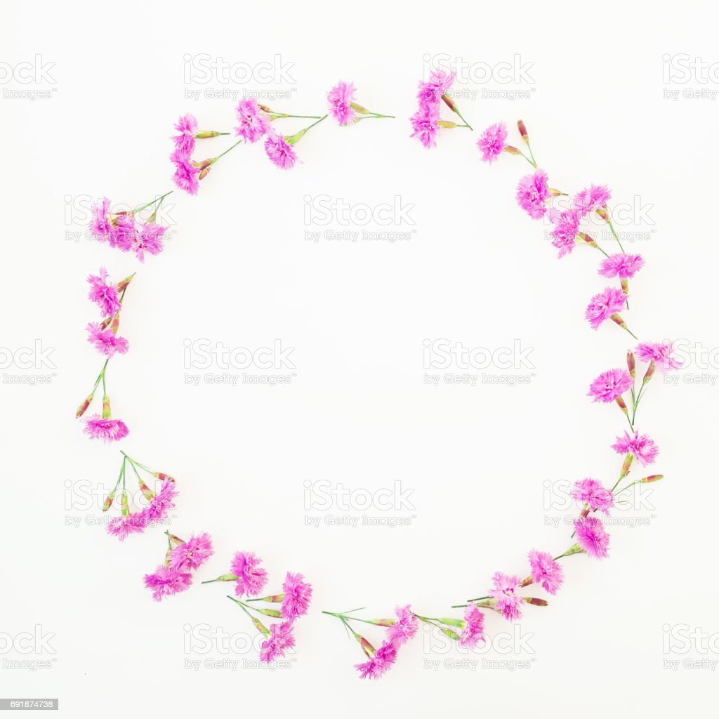 Floral round frame made of pink flowers on white background flat lay floral round frame made of pink flowers on white background flat lay top view mightylinksfo