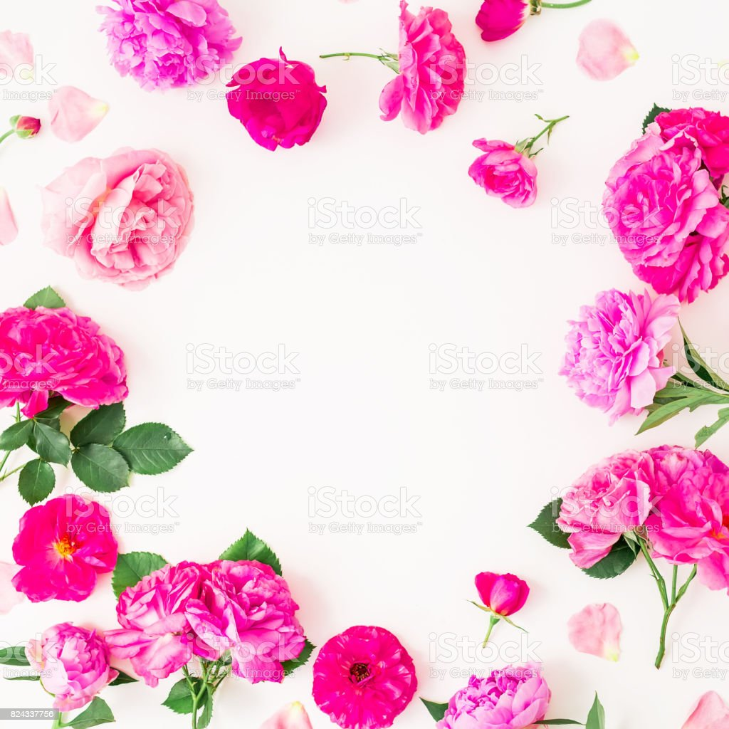 Floral Round Frame Made Of Pink Roses And Leaves On White Background