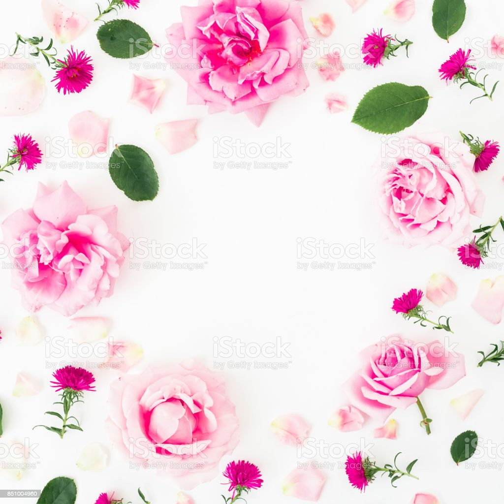 Floral Round Frame With Pink Flowers And Leaves On White Background