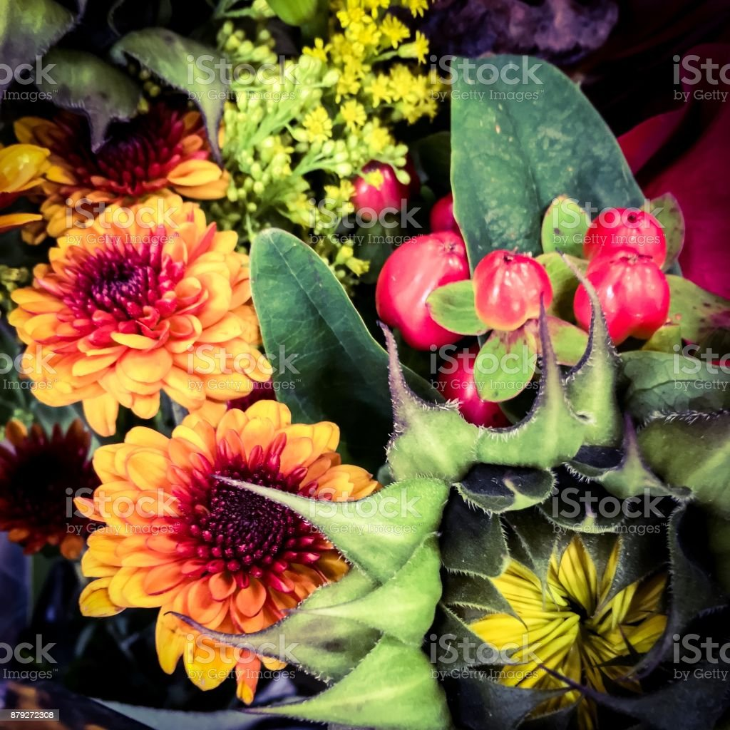 Floral table decor stock photo