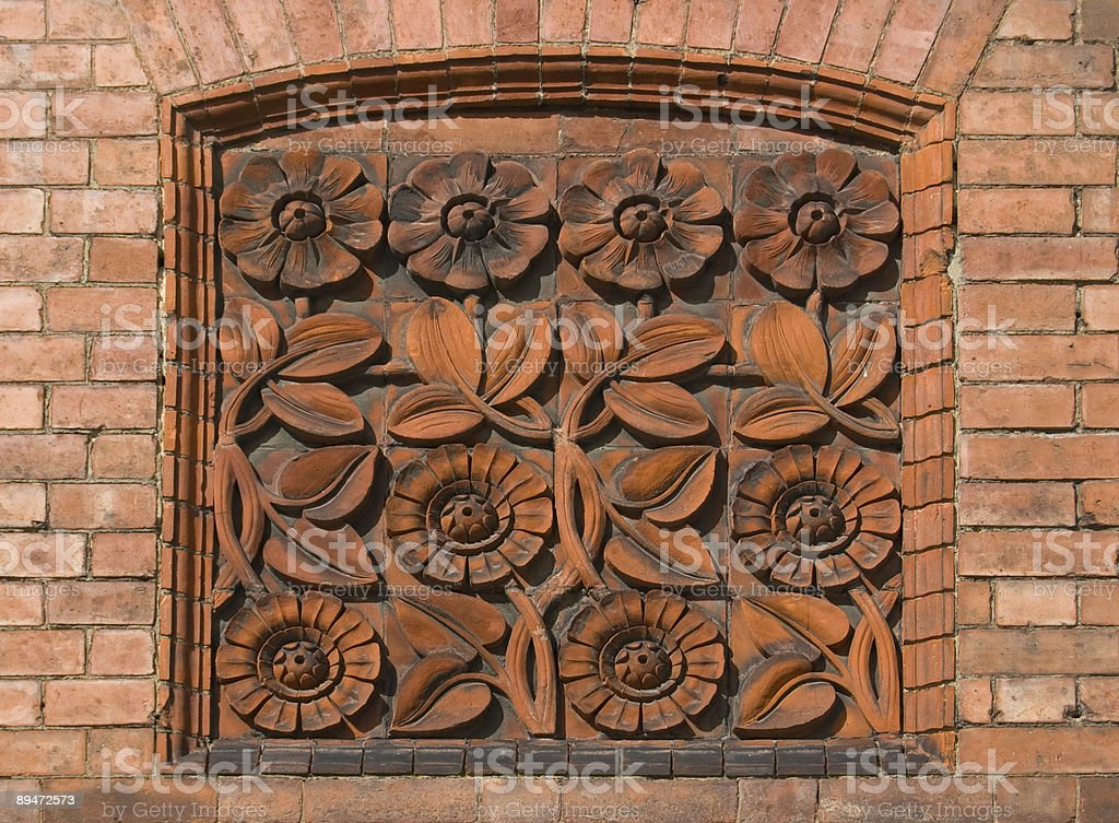 Floral Tiled Plaque royalty-free stock photo