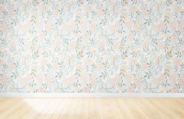 Florale Tapete in einem leeren Raum mit Holzboden – Foto