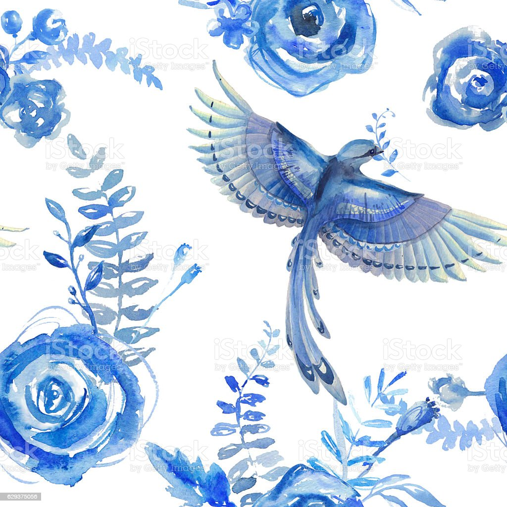 Floral watercolor pattern, texture with flowers and birds. stock photo