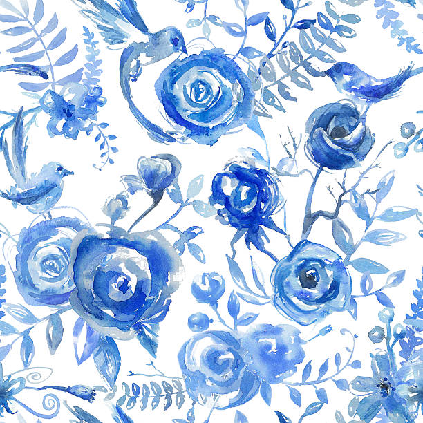 Floral watercolor pattern, texture with flowers and birds. Seaml – Foto