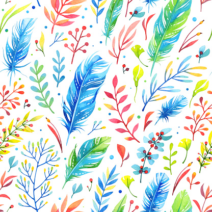 istock Floral watercolor pattern with feathers 513387076