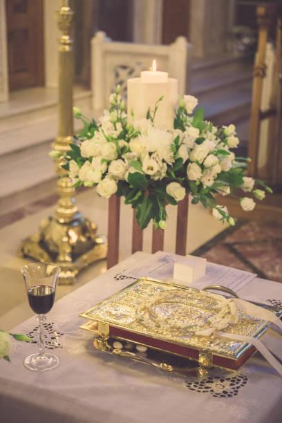 floral wedding decoration stock photo