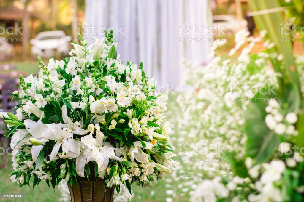 Floral Wedding Entrance With Vase Detail Of Flowers With