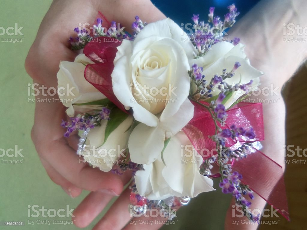 Floral Wrist Corsage royalty-free stock photo