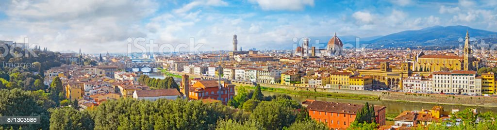 Florence  aerial view cityscape. Panorama view from Michelangelo park square  ,Italy stock photo