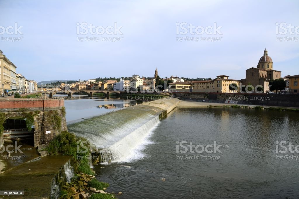 Florence and Arno river, Tuscany, Italy stock photo