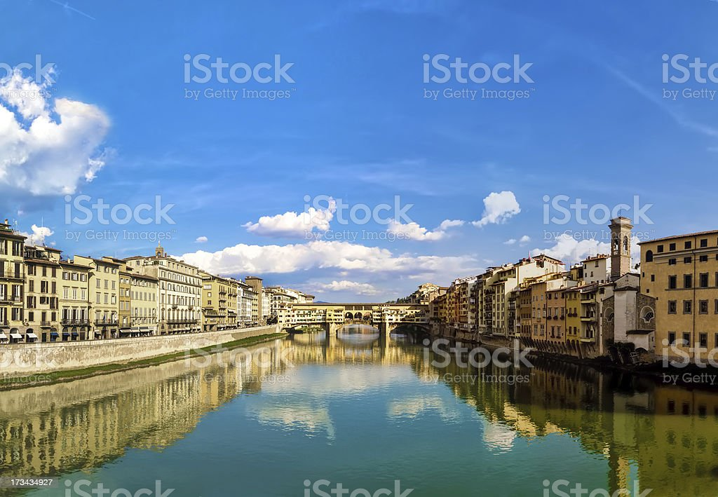 Florence and old bridge royalty-free stock photo