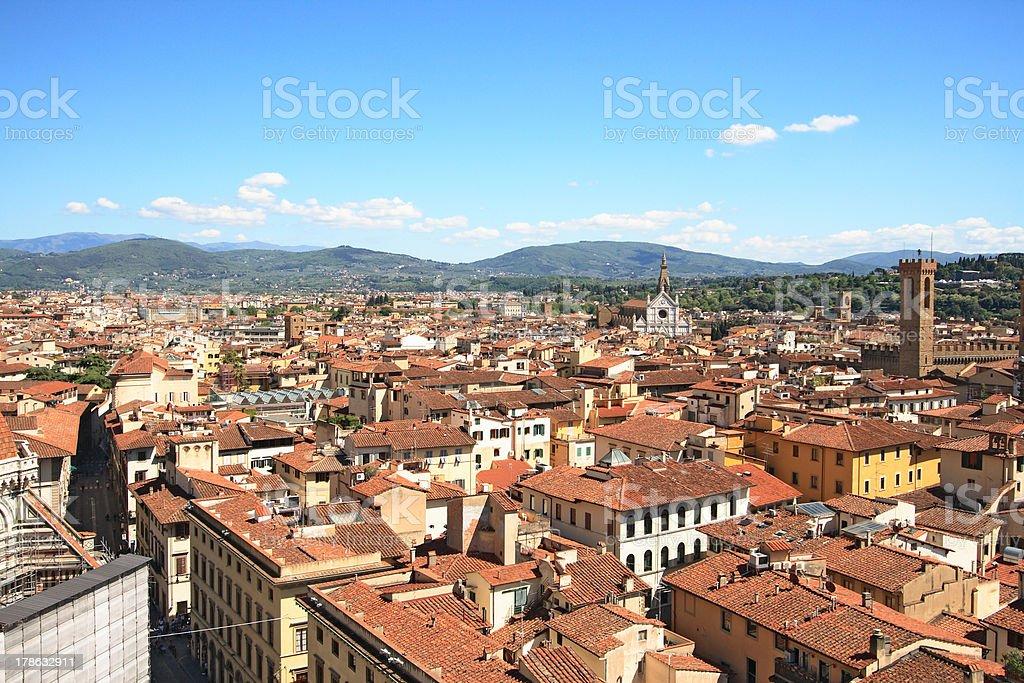 Florence and Santa Croce stock photo