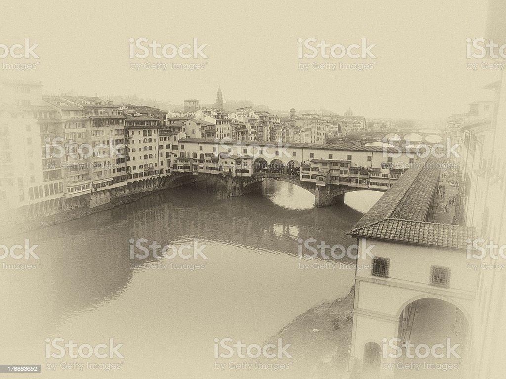 Florence antique view of Ponte Vecchio royalty-free stock photo