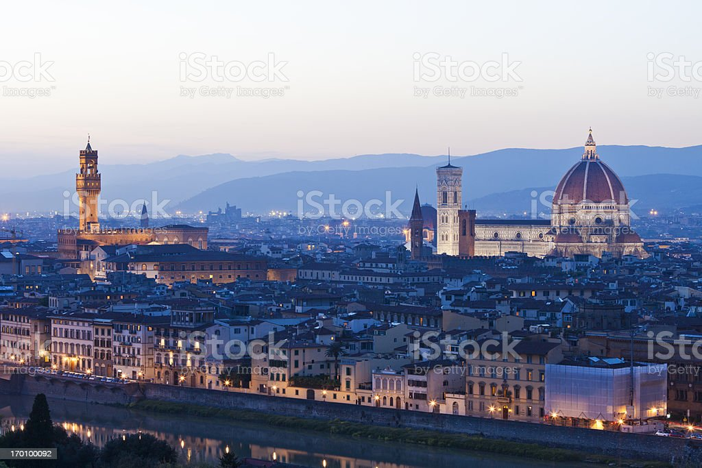 Florence at dusk royalty-free stock photo