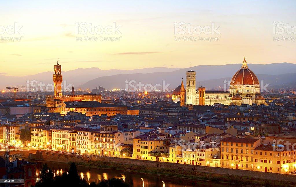 Florence at dusk stock photo