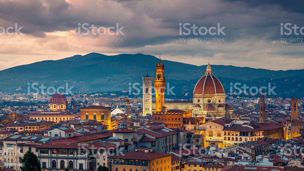 Florence at night stock photo