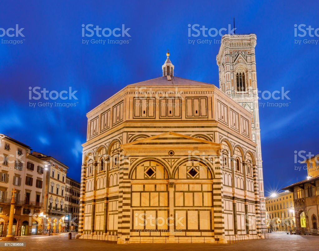 Florence. Baptistery at night. stock photo