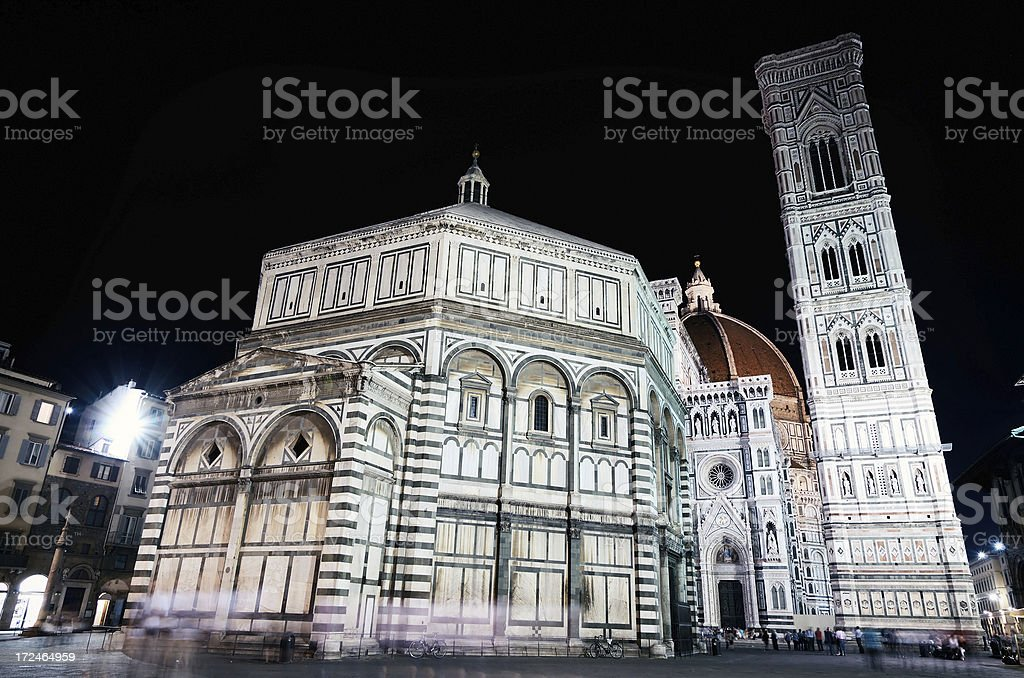 Florence Baptistery in nighttime stock photo