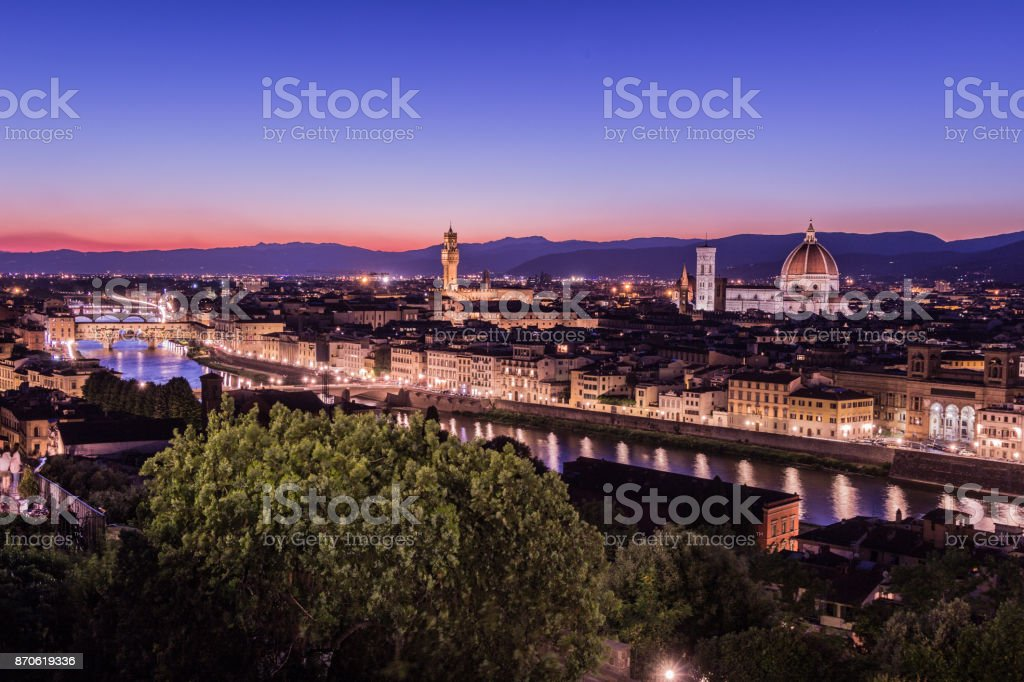 Florence by night stock photo