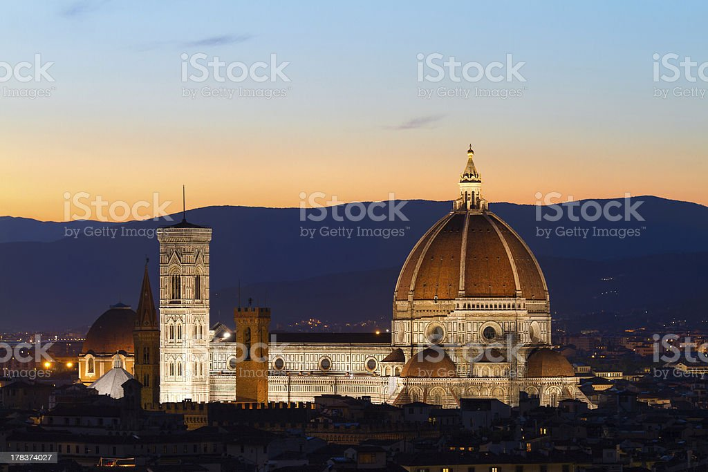 Florence Cathdral at twilligt, Tuscany, Italy stock photo