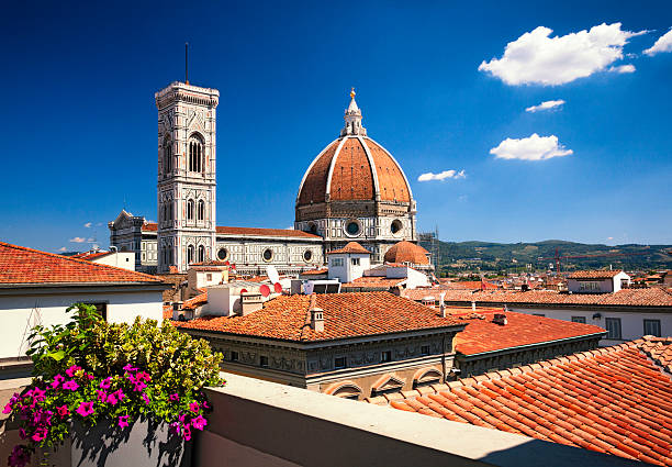 Florence Cathedral - across the rooftops stock photo