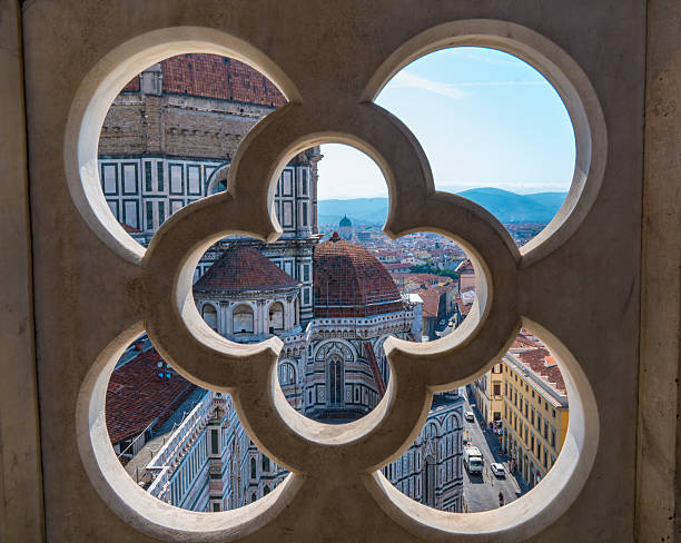 florence cathedral from giotto's campanile - giotto stock-fotos und bilder