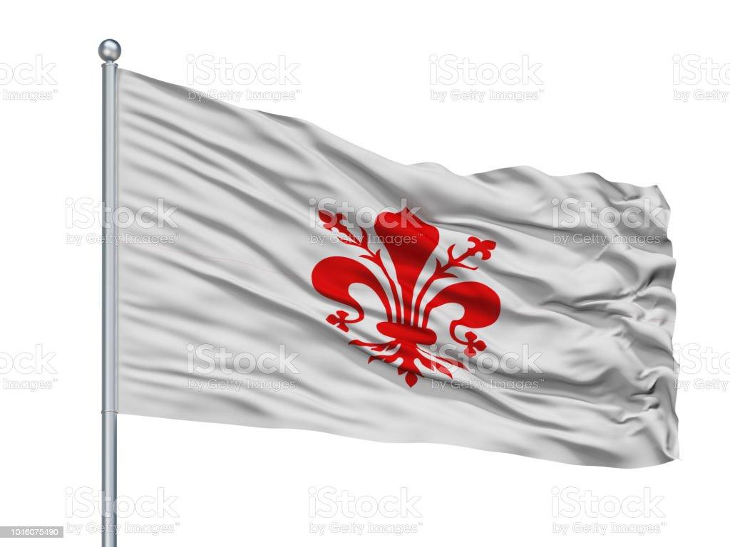 Florence City Flag On Flagpole, Italy, Isolated On White Background stock photo