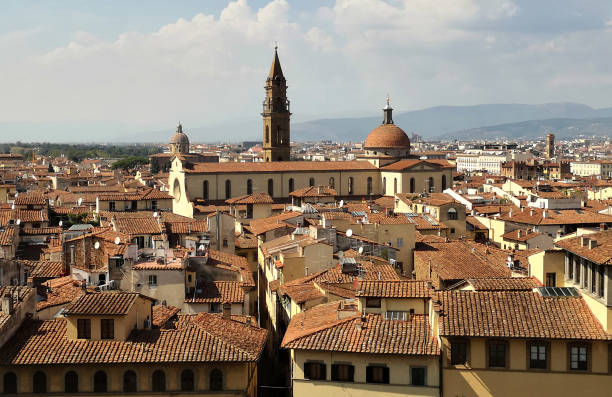 Florence cityscape and Basilica of Santo Spirito, Italy stock photo