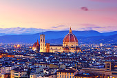 Florence cityscape and Duomo Santa Maria Del Fiore at sunset, Florence, Italy.