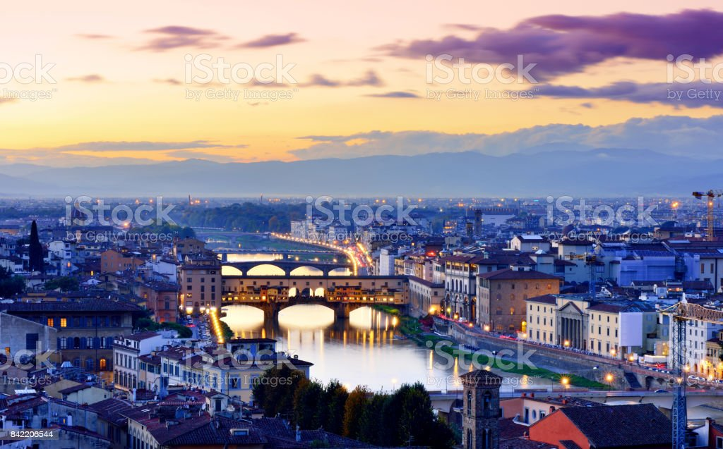 Florence Cityscape at Sunset stock photo