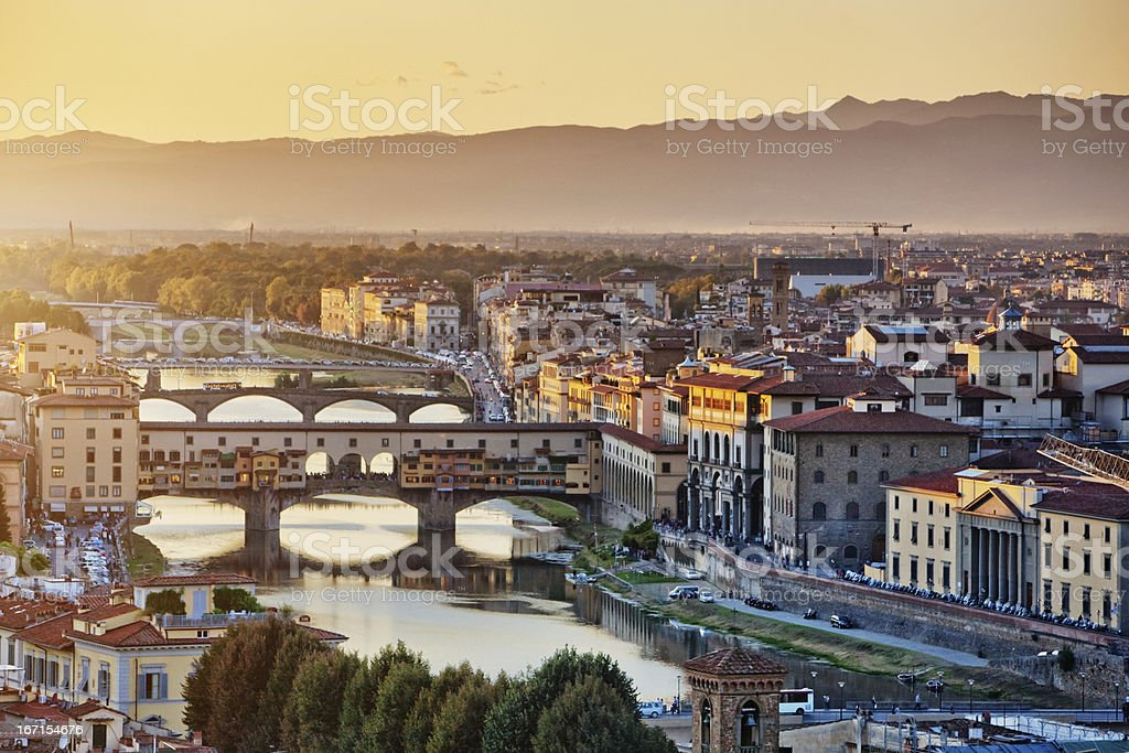 Florence cityscape at the evening, Italy stock photo