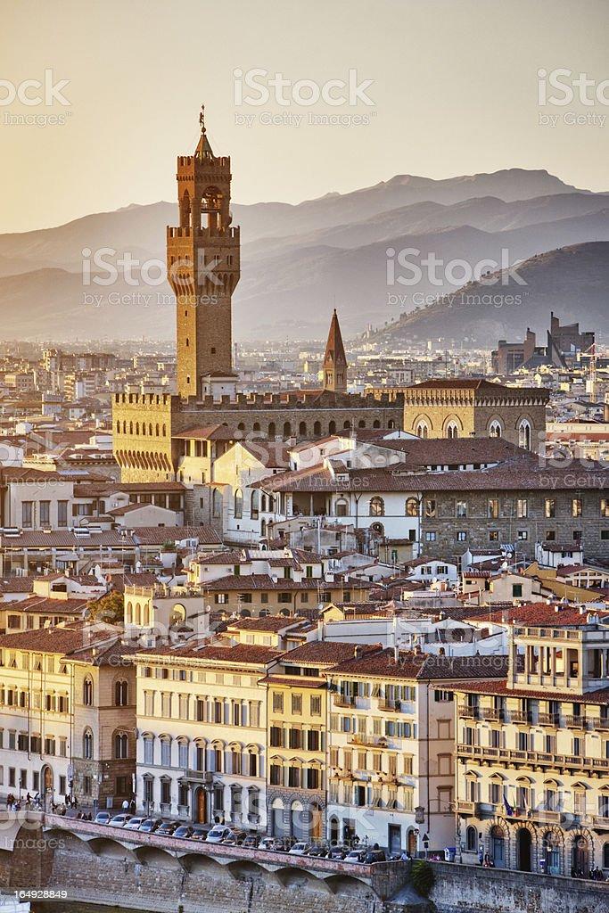 Florence cityscape, Santa Croce church, Italy stock photo