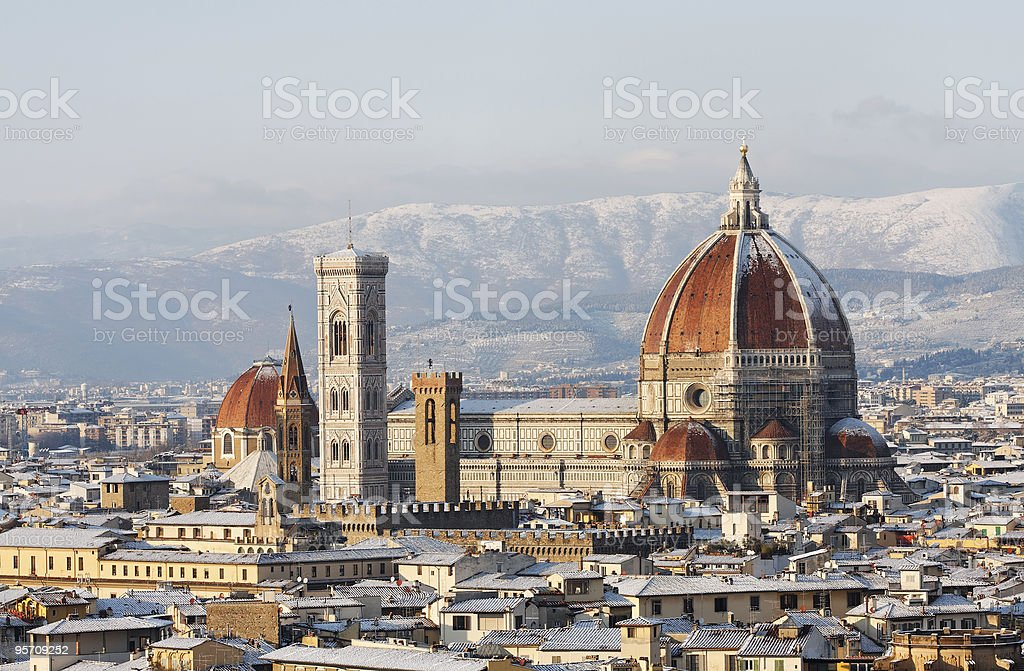 Florence Dome covered in snow royalty-free stock photo