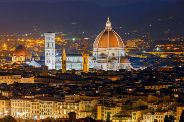 Florence. Duomo at night. stock photo
