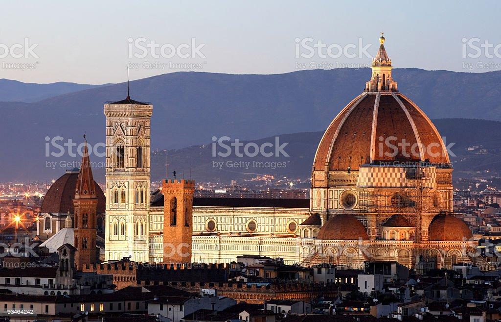 Florence Duomo Seen at Twilight royalty-free stock photo