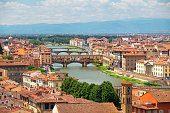 Florence cityscape with Arno river on a sunny day. Florence from above.