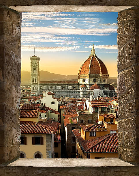 Florence from window View on Cattedrale di Santa Maria del Fiore in Florence from ancient window, Italy florence italy stock pictures, royalty-free photos & images