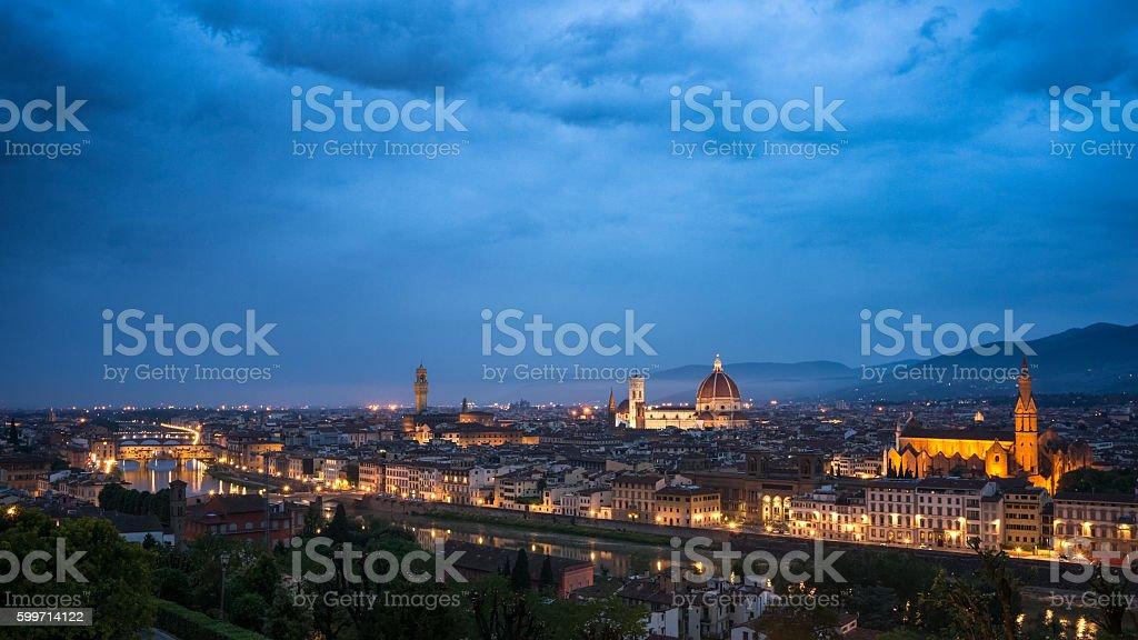 Florence in night illuminatin stock photo