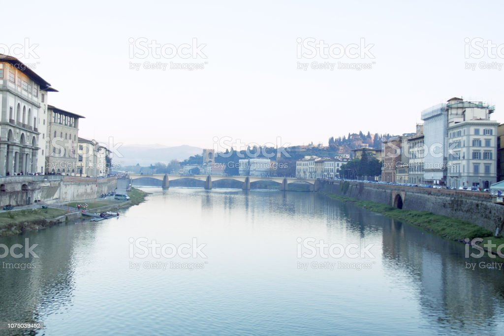 Florence in winter, Arno. стоковое фото
