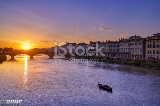 Florence, along the Arno River, in the Tuscany region of Italy.