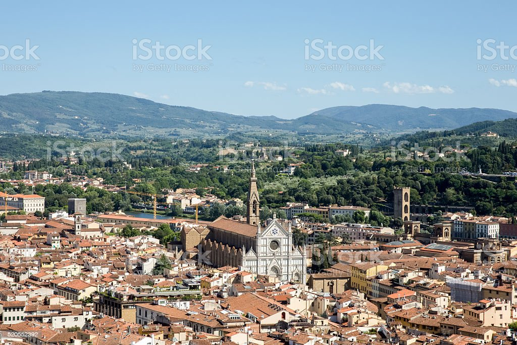Florence, Italy Cityscape with Santa Croce Church stock photo